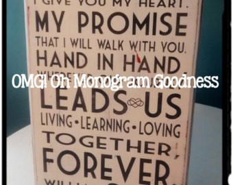 Wedding Gifts -  Hand painted vows on wood or paper  2